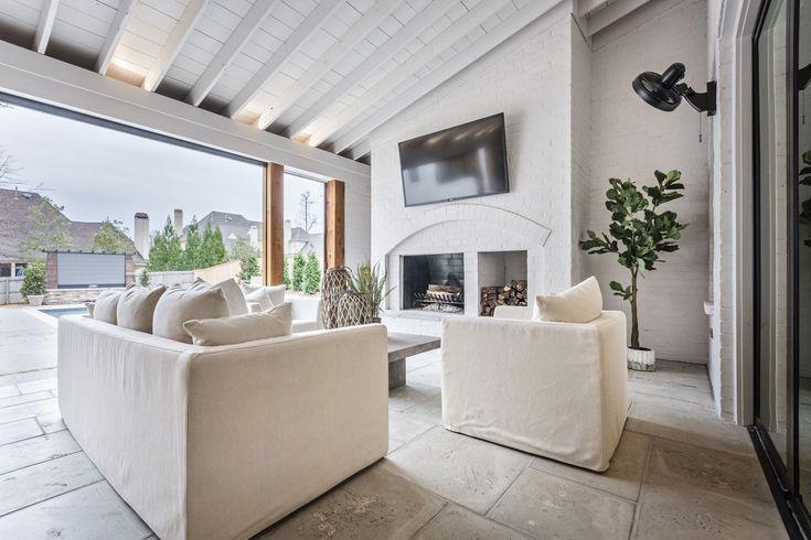 FireRock indoor fireplace featured on a luxurious porch - 2017 Vista Show Home
