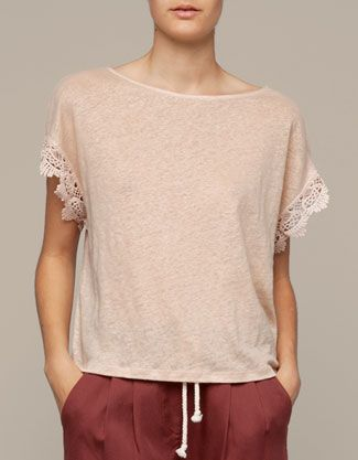 Top with sleeve lace detail - T-shirts - Bulgaria