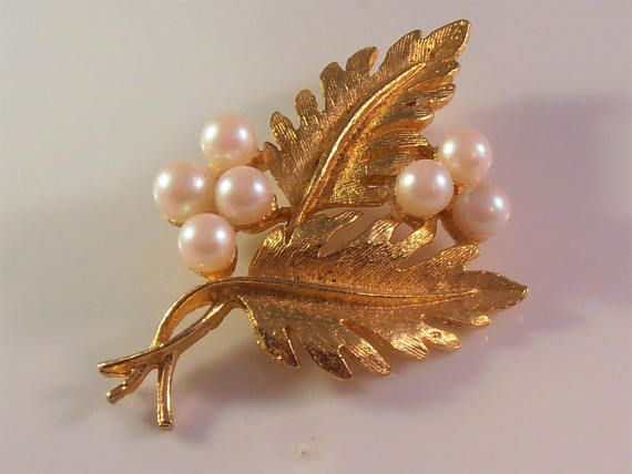 Pearl Leaf Brooch Signed DFA Foliate Jewelry Trifari Style