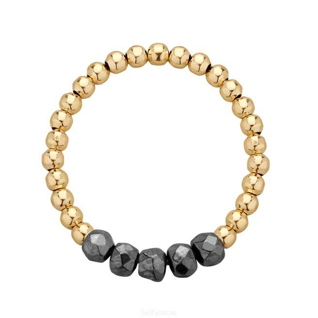 Pierścionek elastyczny / one star / hematyt / złocenie - Selfie Jewellery - Sklep Internetowy
