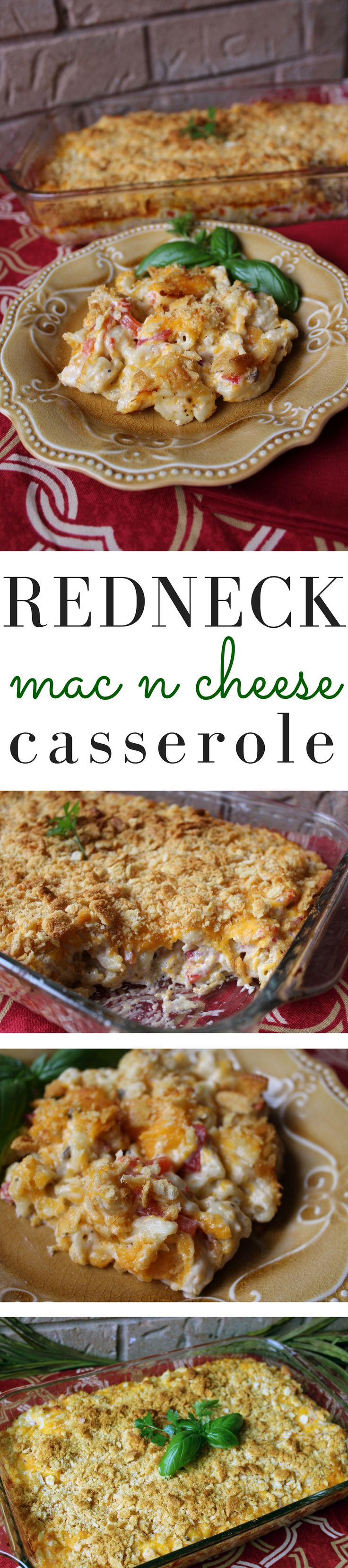 This is not your typical mac and cheese. It's rich and creamy from the cream of mushroom/mayo mixture. Pimentos and onions add tons of flavor. Make sure to add the Ritz crackers with the cheese - it's a delicious topping.