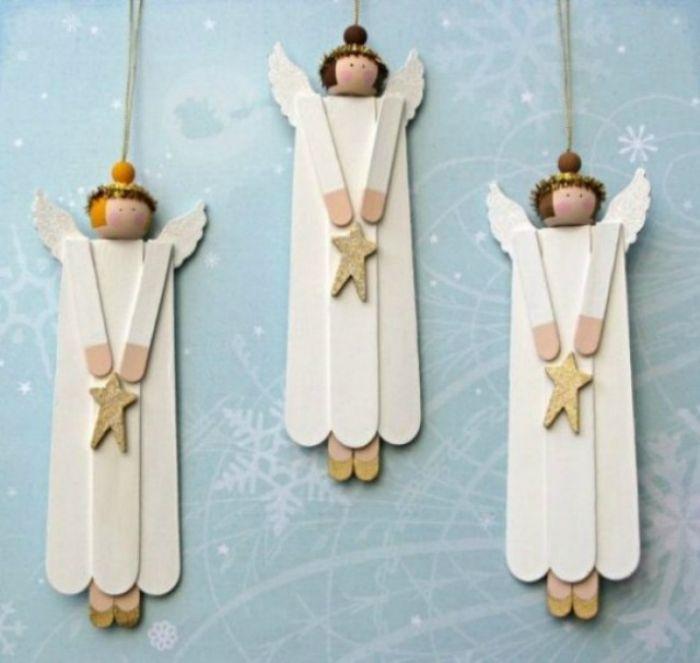 Очаровательные фигурки ангелов из палочек от мороженного.