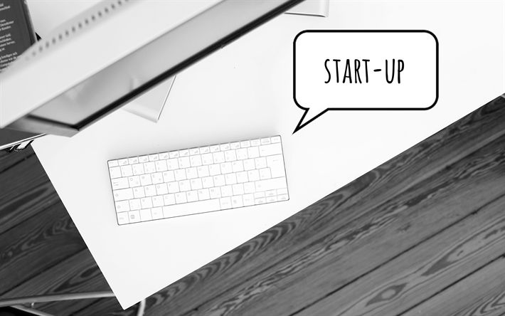 Download wallpapers Start Up, laptop, 4k, keyboard, Start Up concept