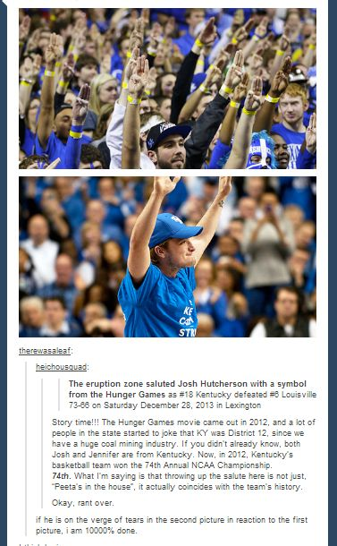 74th annual NCAA and Kentucky was the winner and Peeta and Katniss were the winners of the 74th annual Hunger Games! Mind officially blown this is so awesome