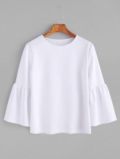 Camiseta con cuello redondo de manga acampanada - blanco -Spanish SheIn(Sheinside) Sitio Móvil