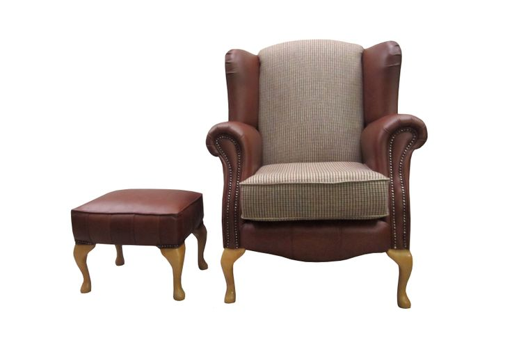 Leather Arm and Base Queen Anne Chair with Matching Stool.