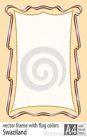 Frame and border of ribbon with the colors of the Swaziland flag, with protective grid. Vector, with bleed three mm