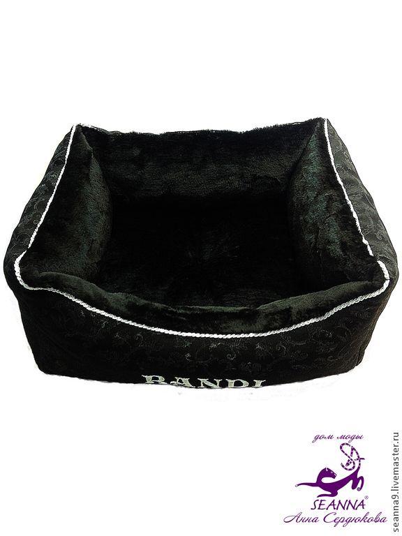 Купить Лежанка для собаки или кошки с вышивкой любого имени питомца - чёрный, лежанка для собаки