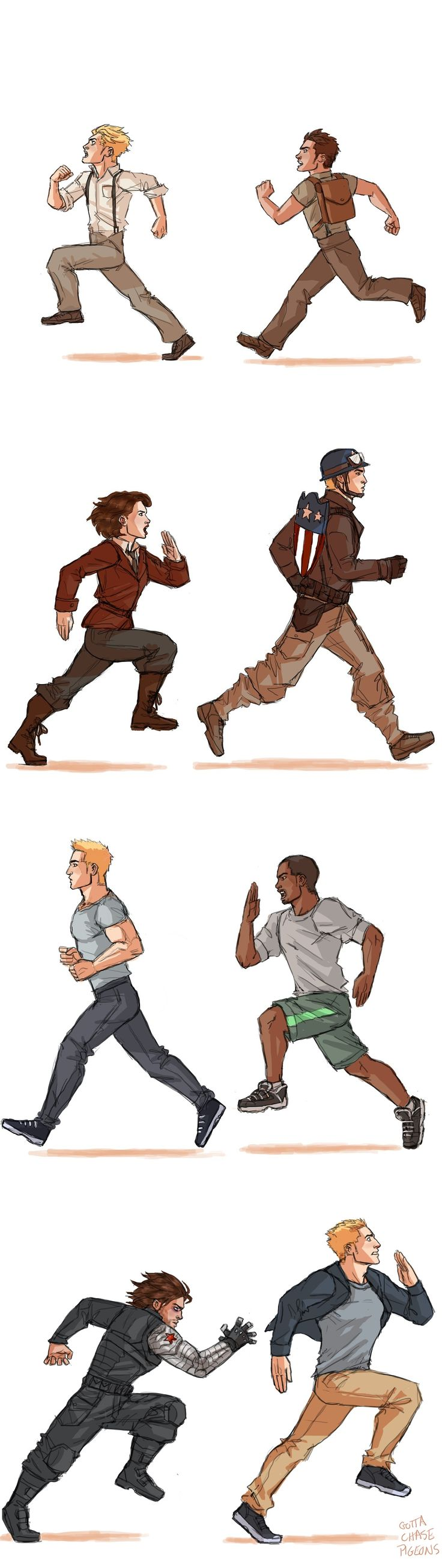 """Steve Rogers has gotten used to being chased by testy brunettes. Bucky Barnes: """"STEVE NO"""". Peggy Carter: """"The plane is the other way Steve"""". Sam Wilson: """"I will kill your star spangled ass Rogers"""". The Winter Soldier: *angry soviet noises*<<<angry soviet noises!"""