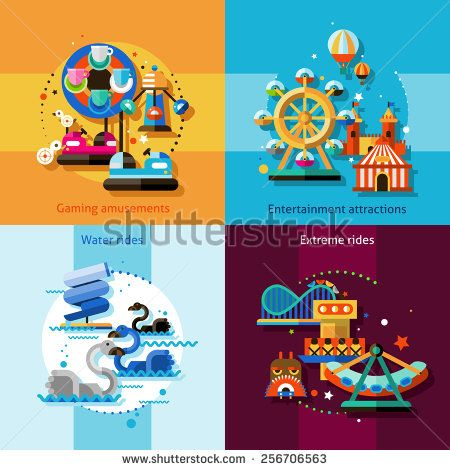 Amusement park design concept set with gaming entertainment attractions water…