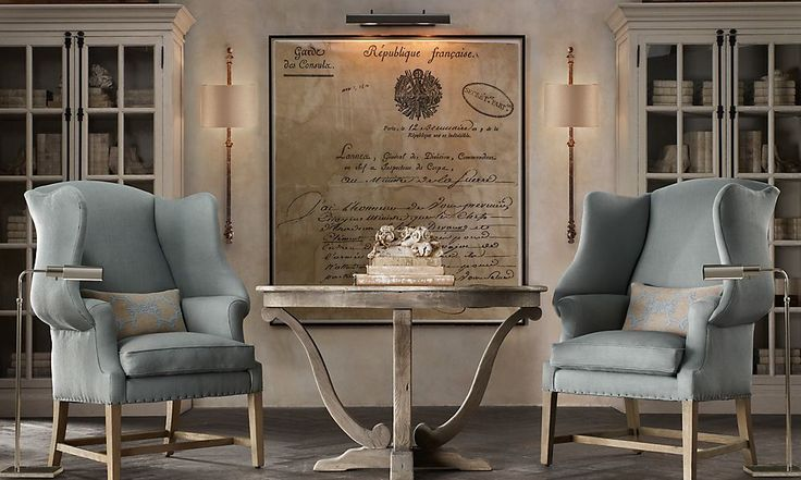 If I was a room or a piece of furniture, I just think this is what I'd look and feel like... the neutrals, the cool accent color, the styling of the chairs, the wood all around, and the feminine curves and curls of the artwork and the table legs