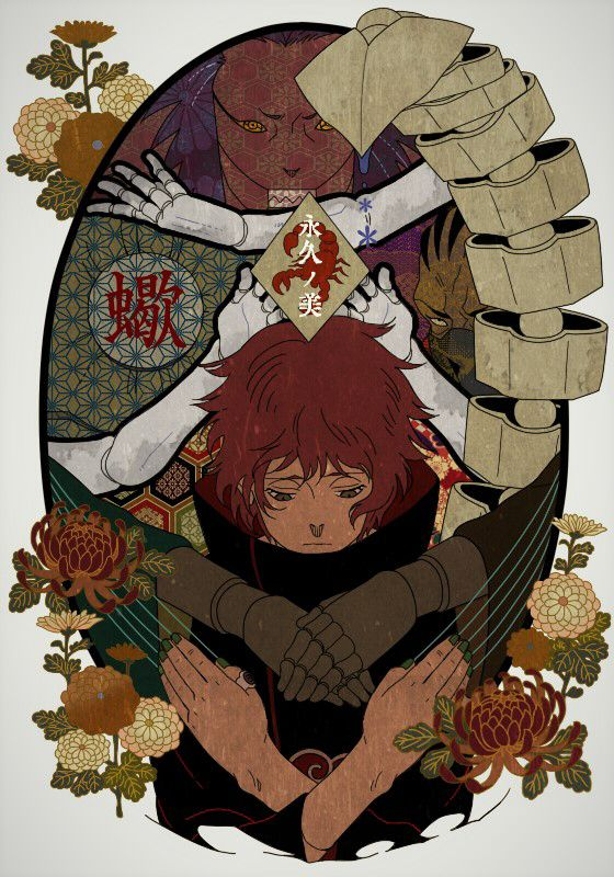Trained by his powerful grandmother, Chiyo, in the art of puppetry, Sasori was an extremely powerful puppeteer and had great skill in creating and controlling his puppets. He had 298 human puppets in his collection.  As puppets are usually installed with long-range weapons, Sasori was an expert at fighting at long distances.