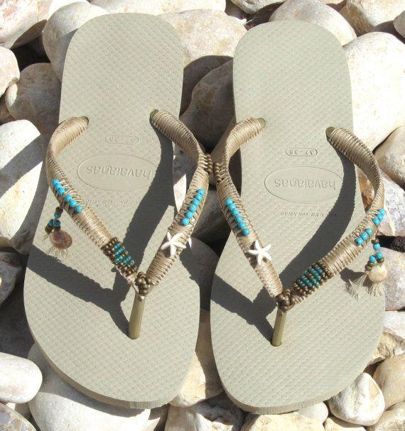 Turquoise & Bronze Beaded Bohemian Flip Flops door TribesBySaraK
