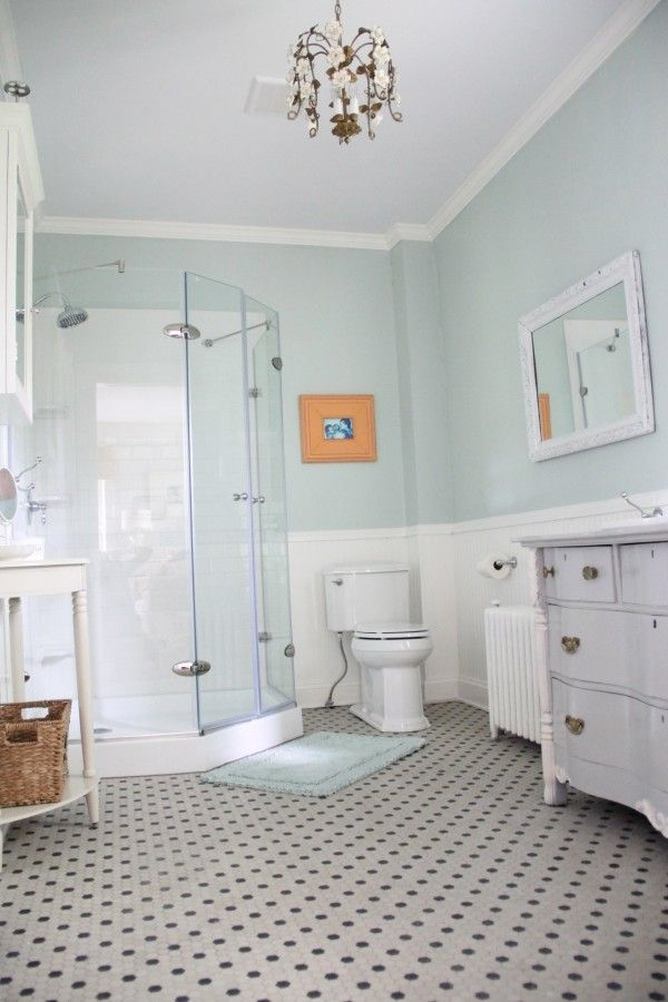 Master Bathroom Walls: Benjamin Moore - Palladian Blue Vanity: BM Coventry Gray with Pristine trim Trim: BM Mountain Peak White Ceiling White