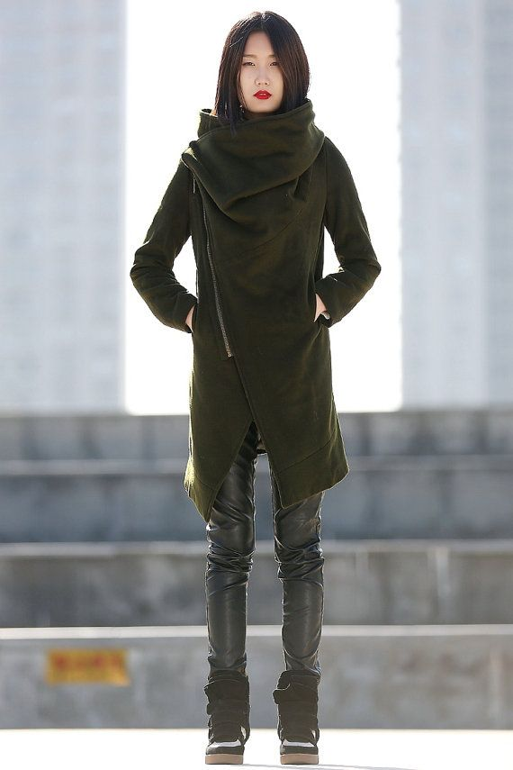 High Collar Wool Jacket Winter Wool Coat for Women in Army Green - CF081 on Etsy, $229.99