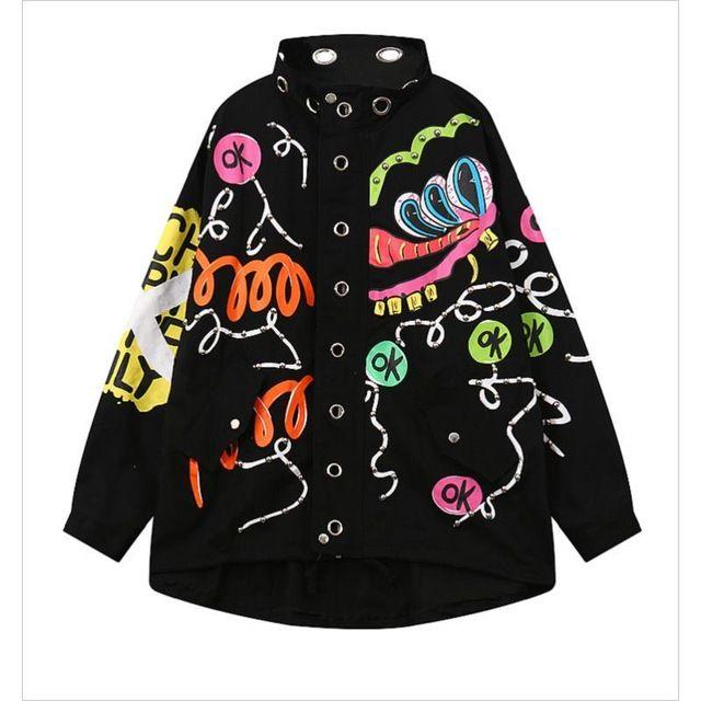Harajuku Style Printed Coat Long Sleeve Student Outwear