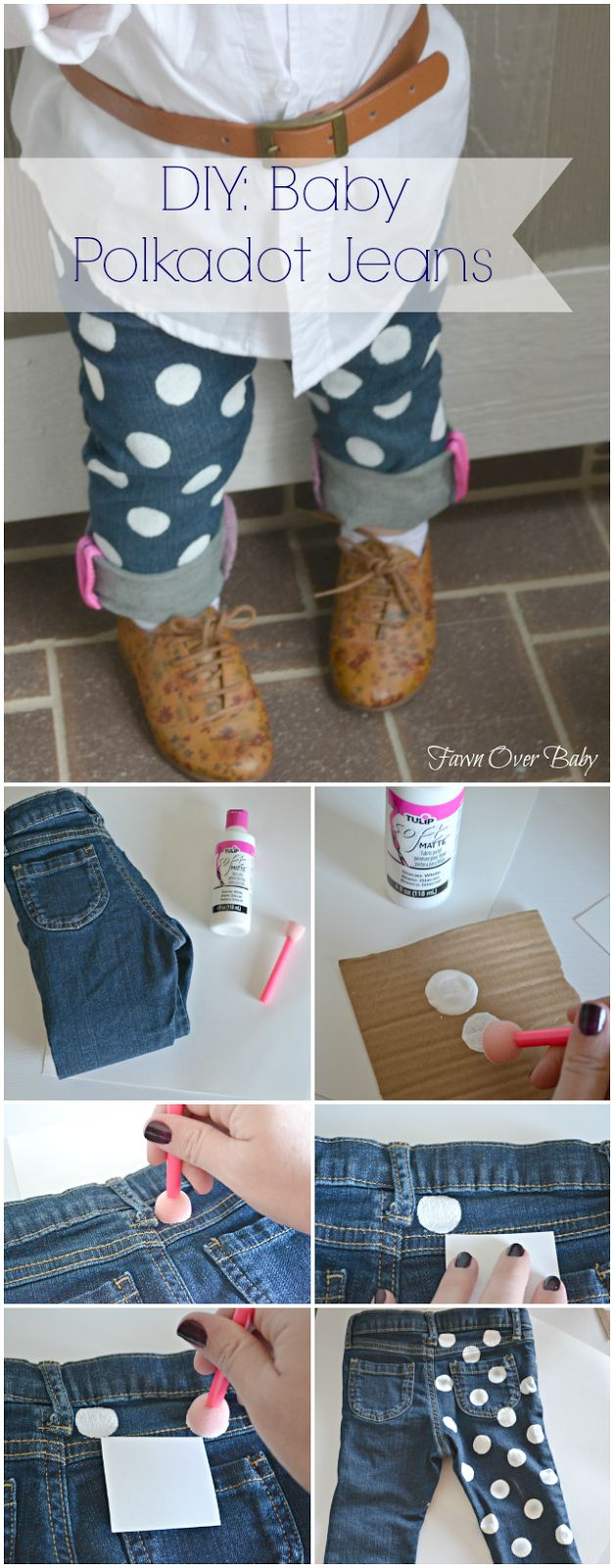 DIY: Baby Polka Dot Jeans/Fawn Over Baby #Diy #diybaby #babyfashion I could do this with big girl jeans!