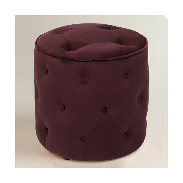 Cost Plus World Market Port Tufted Velvet Ottoman ($80) ❤ liked on Polyvore featuring home, furniture, ottomans, purple, velvet footstool, purple furniture, purple velvet furniture, velvet tufted ottoman and tufted footstool