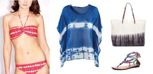 Bikini de Boohoo (20€), blusa de H (19,95€), bolso de Zara (29,95€) y sandalias de Boohoo (24€)