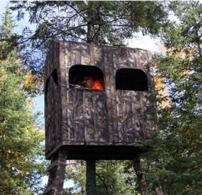 The Ultimate Comfort Hunting Blind for deer hunting and turkey hunting. The hunting blind has an easy set-up aluminum frame and 600Denier camo polyester fabric that mounts on any 4x4 platform.
