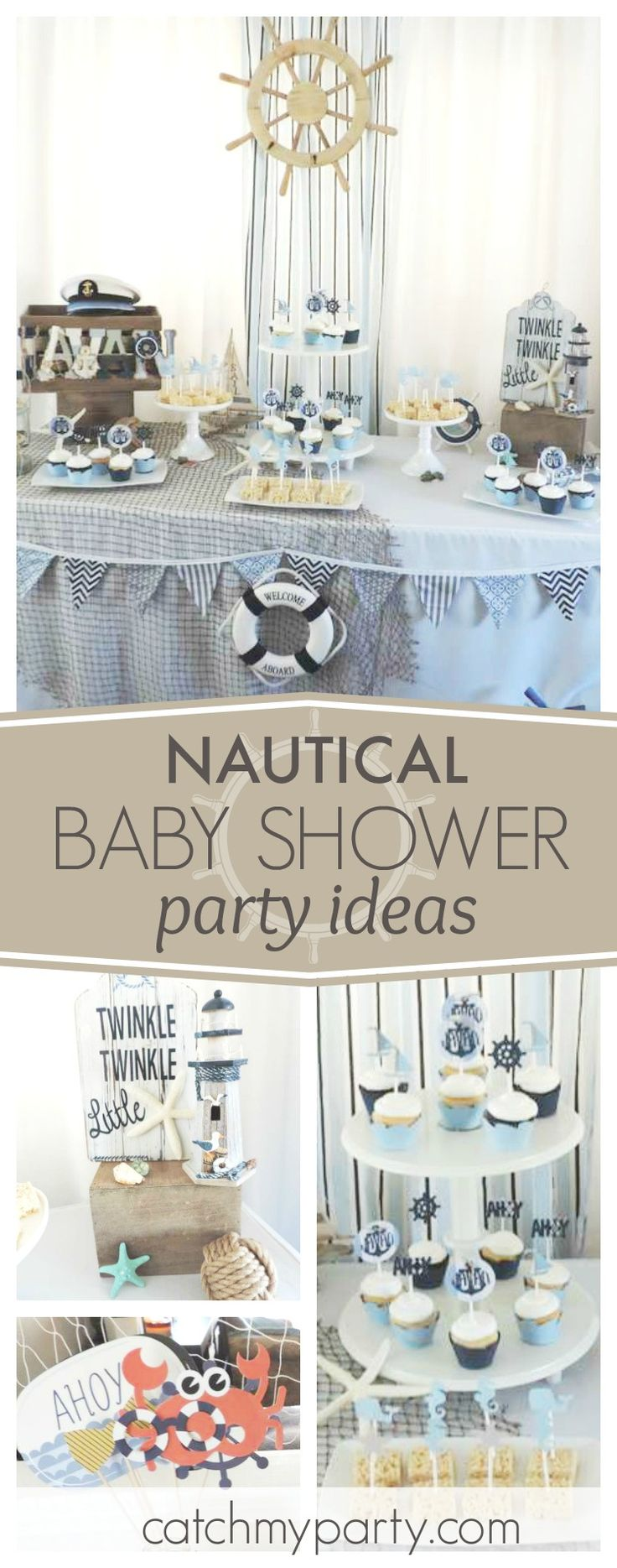 Check out this adorable Nautical Baby Shower! The dessert table is gorgeous!! See more party ideas and share yours at CatchMyParty.com