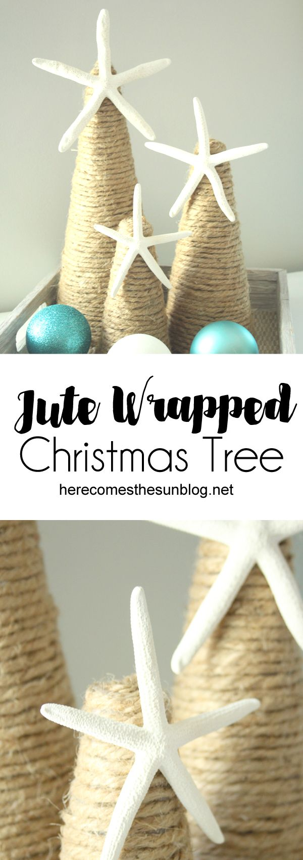 This jute wrapped Christmas tree is the perfect decor for a coastal Christmas.