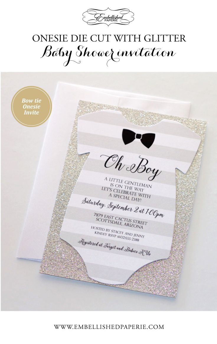 Little Man Baby Shower Invitation - Bow tie Baby Shower Invitation - Grey and White striped Onesie Invitation printed on White metallic cardstock backed in Silver Glitter paper.  Colors can be customized.  Perfect for a Bow tie themed Baby Shower or a Little Gentleman Baby Shower.  www.embellishedpaperie.com