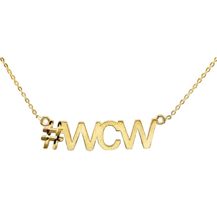 10k Yellow Gold 'wcw' Hashtag Necklace (18 inch yellow gold mariner link chain), Women's