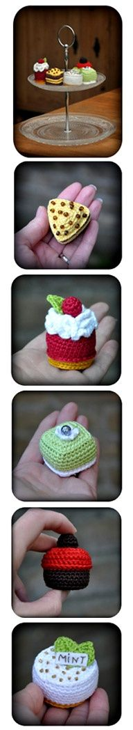 Crochet Cakes free patterns: Banana Chocolate Cake, Cherries 'n Whipped Cream, Mint Cheesecake, Pistachio 'n Buttercream and Chocolate 'n Strawberry Cream Cup.