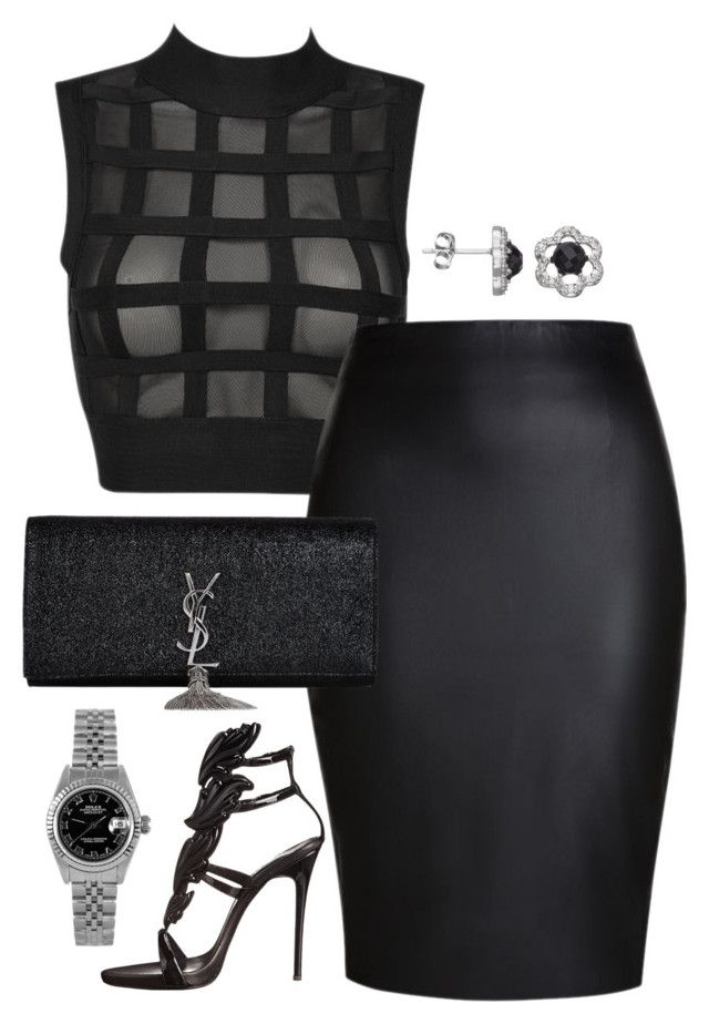 """""""All Black BET awards 2015"""" by fashionkill21 ❤ liked on Polyvore featuring Giuseppe Zanotti, Yves Saint Laurent and Rolex"""