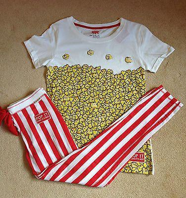 Popcorn Women's Pyjamas Primark Set Leggings Tshirt Pajamas Fancy Dress