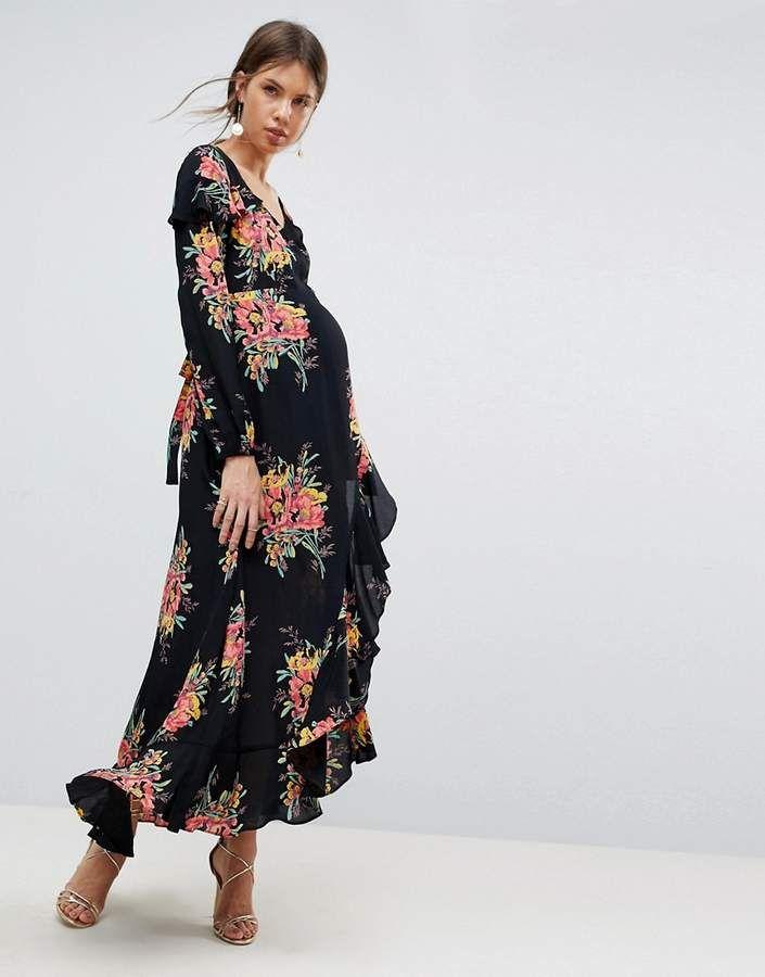95ee4c6726e ASOS Maternity ASOS MATERNITY Long Sleeve Floral Maxi Dress ...