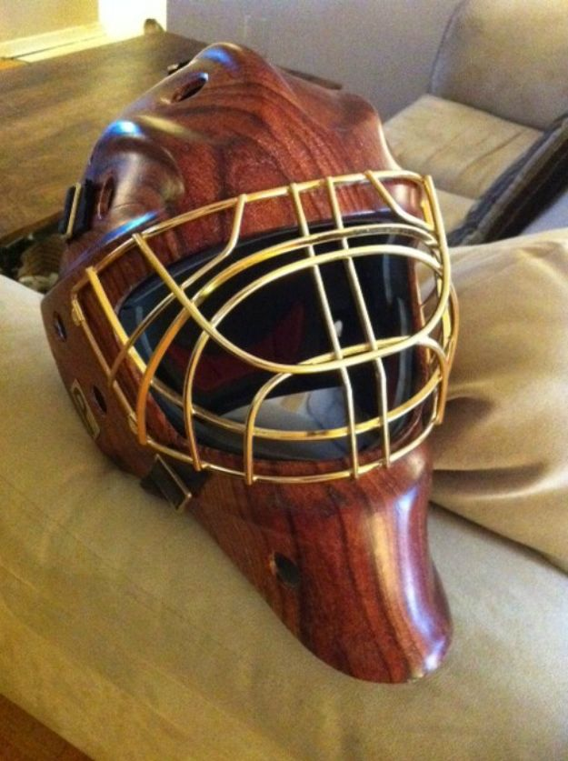 Goalie mask in wood print.  Hydrographics by Liquid Carbon Shop in Ontario Canada
