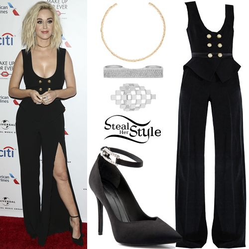 Katy Perry attended the Universal Music Group Grammy after-party wearing Zuhair Murad Fall 2016 Jumpsuit (Not available online), a Jennifer Fisher Braid Choker ($245.00), a Checkboard Ring ($1,650.00) and Triple Finger Bar Ring W/Diamonds ($35,000.00) both by Established, and Stella Luna Cocktail Stella Ankle-Strap Pumps (€450.00). You can find similar pumps for less at Charlotte Russe ($23.99).
