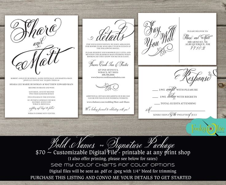 Bold Script Names Invitation Simple & Elegant DIY Printable Invitations RSVP Postcard Information Accommodations Card Custom Color Available by TheFunkyOlive on Etsy https://www.etsy.com/listing/202106205/bold-script-names-invitation-simple