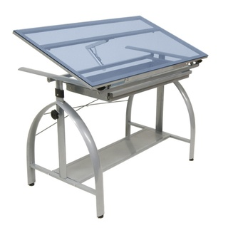 Studio Designs Avanta Drafting Table SilverBlue Glass
