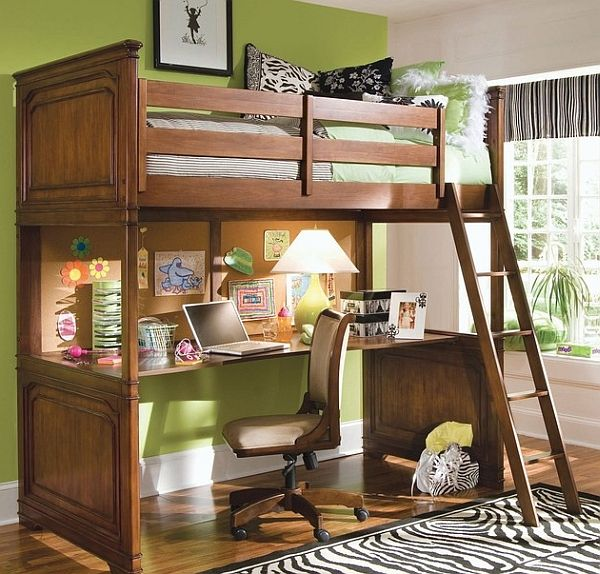 Loft bunk bed with a cool desk below fits in effortlessly in any small bedroom by Simply Bunk Beds