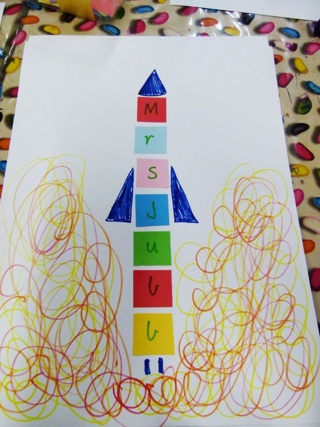 Name Rockets :: Lessons from a Teacher (For older kids perhaps use paint sample cards and do color seriation or patterning)