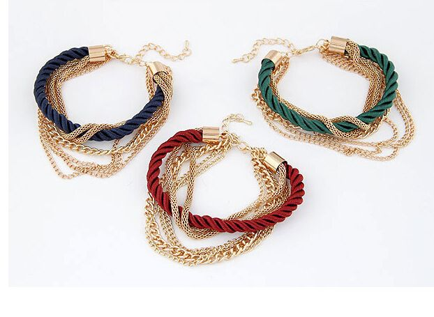 New Bohemia18K Gold Plated Rope Weave Tassel Bracelets Charm Multilayer Bracelets Bangles Statement Bangle Bracelet For Women