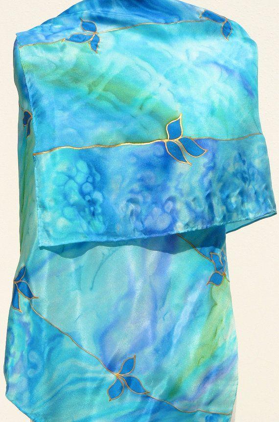Turquoise silk scarf Sea Blue Mediterranean beach color by Irisit