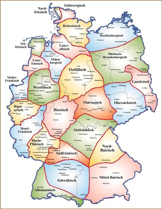 Map of Dialects in Germany