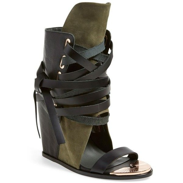 """Ivy Kirzhner'Mount' Wedge Sandal, 4 3/4"""" heel (9,220 MXN) ❤ liked on Polyvore featuring shoes, sandals, high heel sandals, leather wedge shoes, open toe wedge sandals, wedges shoes and leather shoes"""