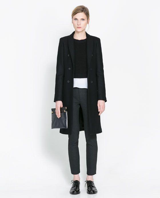 MASCULINE DOUBLE BREASTED COAT - Coats - Woman   ZARA United Kingdom