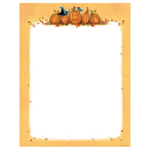 This computer printer paper features five whimsical pumpkins on the top and an orange border all the way around, leaving plenty of room in the middle for your personalized message. The 8 1/2″ x 11″ stationary paper runs smoothly through inkjet printers, laser printers and copiers.