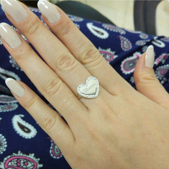 Personalized Name Ring Gold plated or Sterling Silver Cubic Zirconia CZ