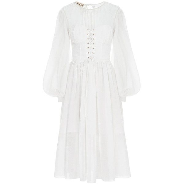 FLOW the Label Baptise Corset Dress ($945) ❤ liked on Polyvore featuring dresses, white, white corset, white colour dress, ruching dress, white dress and gathered dress