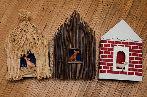 3 little pigs...3 different houses....straw, sticks, and brick.