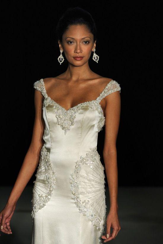 Love this! Bride Chic 5 Trends for Fall 2014 Gatsby Inspired Johanna Johnson Weddding Dress Zephyr #Veils, #Pleats, #Lace, #Bridal Style, #Vintage, #Silk, #Sheath, #Great Gatsby, #Glamorous, #Floor, #Crystals, #Dresses and Fashion, #Wedding Dresses