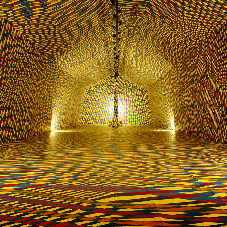 "The 2000 m2 of hand painted canvas installation, titled ""The Temple of Colours"" by Vassiliki (b.1960)"