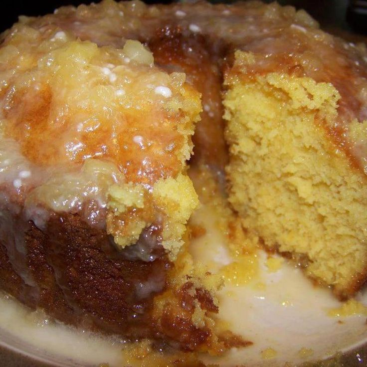 Pineapple Cake With Pineapple Glaze (some glazes call for 11/2 cups of crushed pineapple)